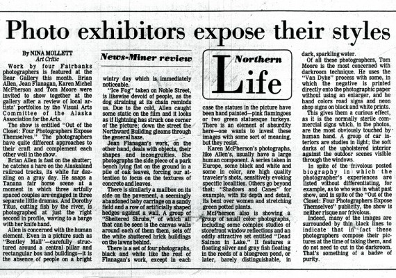 1980 Out of the Closet, Four Photographers Expose Themselves, Fairbanks News Miner,