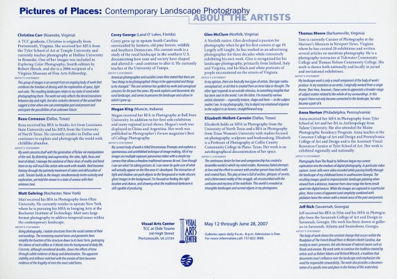 2007, Pictures of Places, Visual Arts Center, TCC, Portsmouth, Virginia  (Artist Info)