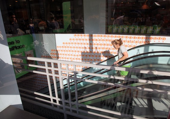 Woman on Metro Stairs